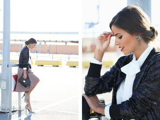 seams for a desire blogger skirt baseball jacket glitter black jacket white shirt stilettos