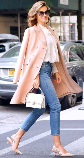 coat nyfw 2017 ny fashion week 2017 streetstyle blouse shirt model off-duty miranda kerr jeans fall outfits