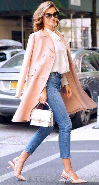 coat nyfw 2017 ny fashion week 2017 streetstyle blouse shirt model off-duty miranda kerr jeans fall outfits