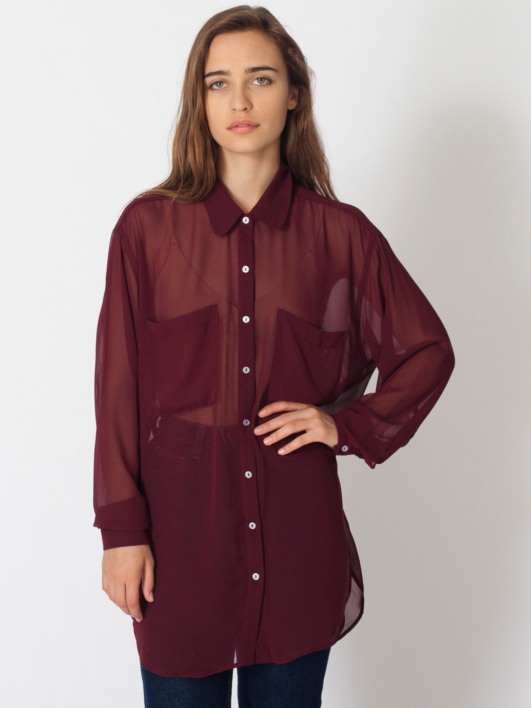 Chiffon Oversized Button-Up | American Apparel