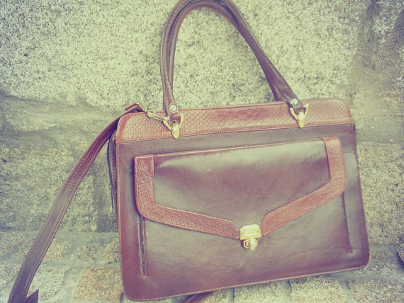 Genuine leather bag canvas briefcase brown messenger by chicutopia