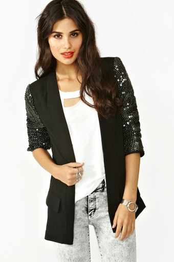 Blackout Sequin Blazer  in  Lookbooks On The Loose at Nasty Gal
