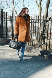 coat,tumblr,camel,camel coat,teddy bear coat,fuzzy coat,camel fluffy coat,scarf,boots,grey boots,flat boots,bag,black bag,gloves,leather gloves