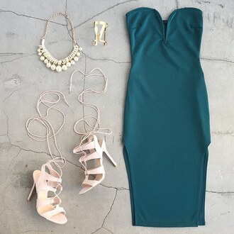 dress hunter green emerald green sweetheart dress tube top tube dress lace heels pearl gojane
