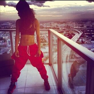 pants teyana taylor sweatpants red pants crop tops