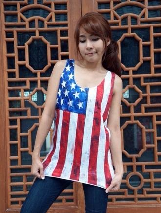 tank top t-shirt top american flag shirt american flag tank top american flag