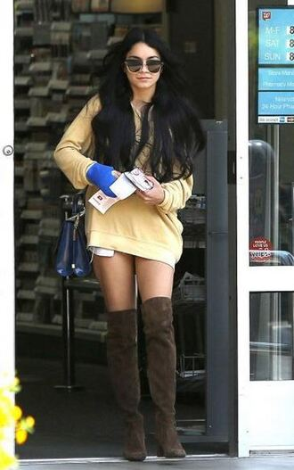 boots knee high boots sweater vanessa hudgens suede boots