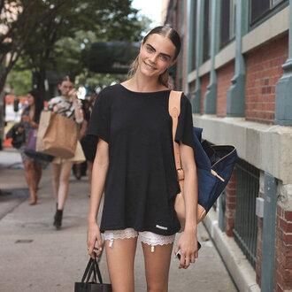 shorts cara white lace white lace shorts model white shorts street cara delevingne victoria's secret model streetstyle bag shirt