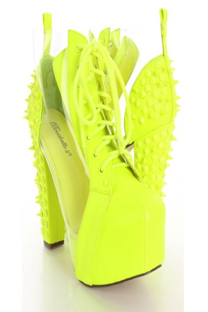 Neon yellow spike studded booties