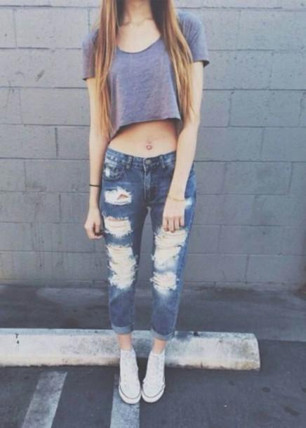 Skirt jeans boyfriend jeans ripped jeans blue casual outifit streetstyle boyfriend ...