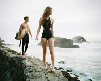 swimwear black high waisted surf beach cute bathingsuit black one piece swimsuit summer sports