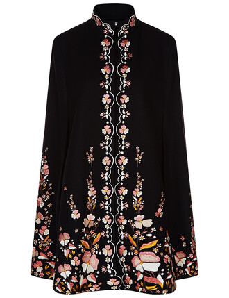 cape embroidered floral black wool top