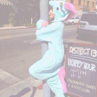 jumpsuit cute mignon bleu licorn rose pajamas ariana grande unicorn onesie blue onesie