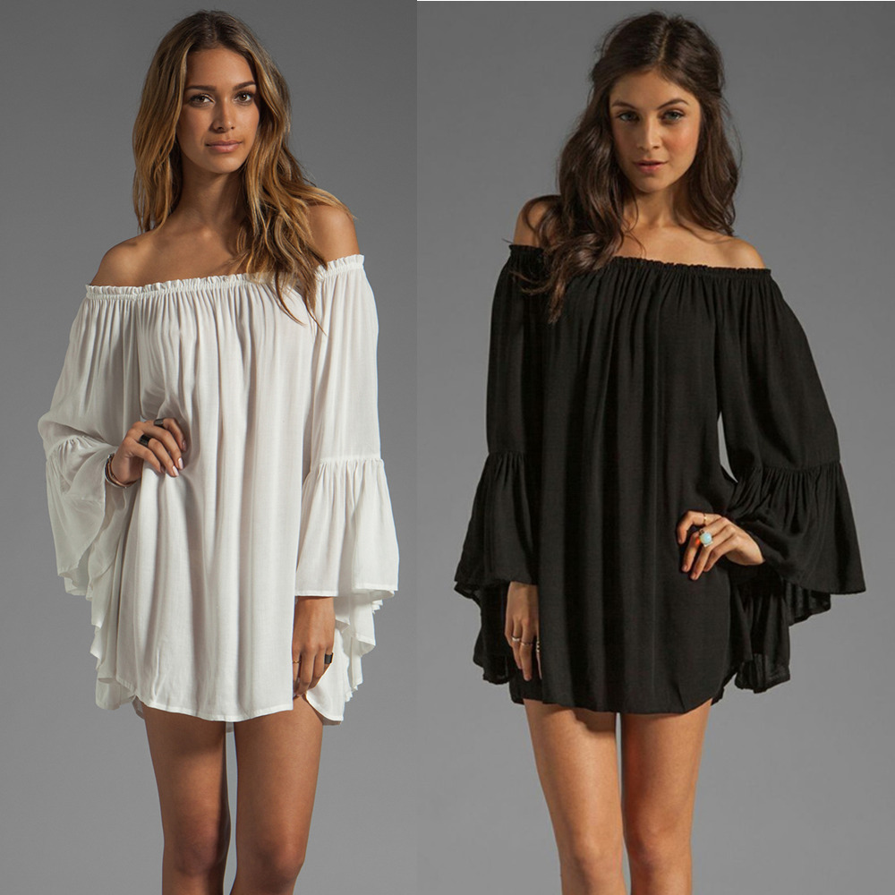 2015 new women vestidos black/white boho dress chiffon off the shoulder flare sleeve sexy dresses s/m/l/xl plus size