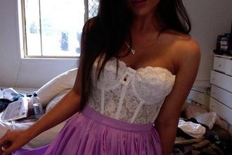 dress lace white pink purple tumblr girl