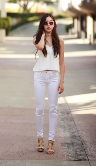 canyoupasstheglitter blogger sunglasses white tank top white jeans leather sandals