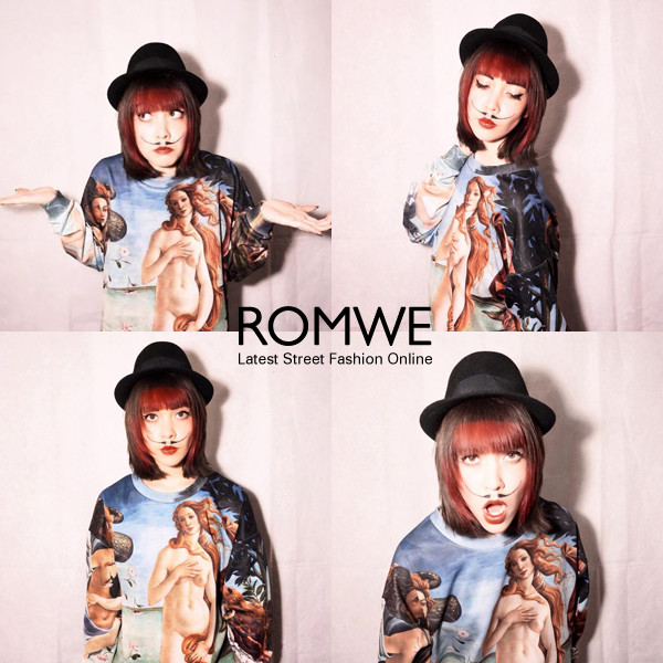 blouse romwe shirt hat black birth of venus sweatshrit artpop venus fashion