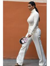 pants,white,all white everything,kim kardashian,bodysuit,turtleneck,top