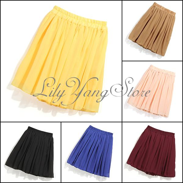 New Retro High Waist Pleated Double Layer Chiffon Elastic Short Mini Skirt Dress | eBay