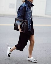 happily grey,blogger,denim jacket,leather pouch,spring outfits,slip on shoes,dress,tumblr,black dress,mini dress,asymmetrical,asymmetrical dress,shoes,black and white,jacket,blue jacket,bag,black bag