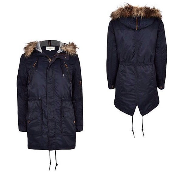 fishtail jacket parka parkas navy