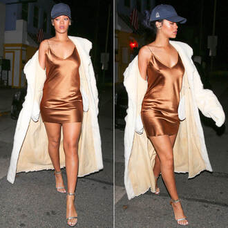 dress satin dress slip dress brown dress mini dress coat white coat sandals baseball hat rihanna celebrity celebrity style baseball cap silk silk dress casual pretty