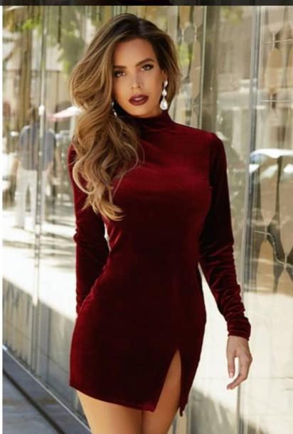 05f1e23c04bb5 dress velvet velvet dress red red dress burgundy burgundy dress turtleneck side  split mini dress red