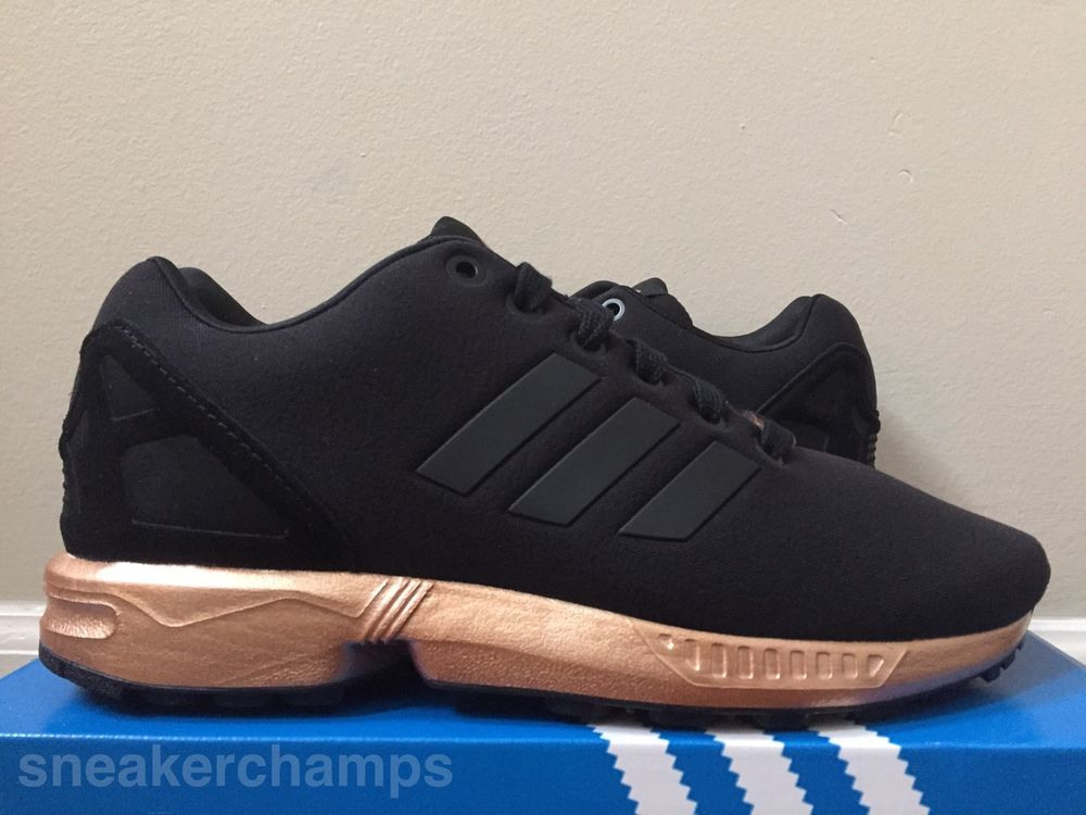 check out 6ade3 8124e ... zx flux black and gold. 2ec6ff8189fb5526745dd83a46d5c280  Adidas  Designer Shoes ADIDAS ZX FLUX COPPER ...