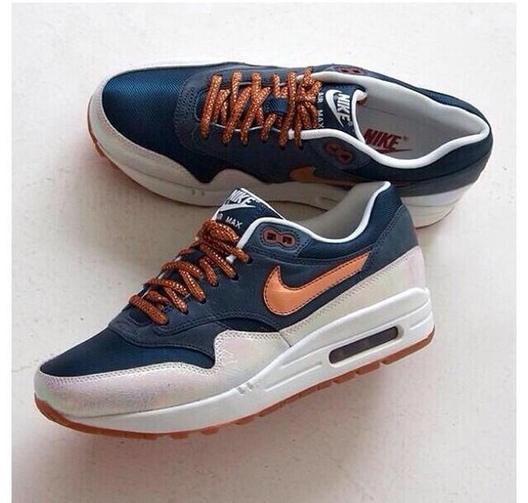 blue shoes brown nike nike sneakers nike air max nike air max 1 blue shoes dark blue nikeairmax airmax brown shoes