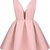 Pink V Neck Backless Midriff Flare Dress - Sheinside.com