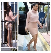 shirt,kim kardashian,cropped sweater,nude,skirt,light pink,pencil skirt,blouse,shoes,all nude everything,turtleneck,turtleneck dress,dress,nude dress,long sleeve dress,top,in black or navy,crop tops,suede shoes