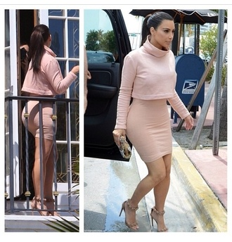 shirt kim kardashian cropped sweater nude skirt light pink pencil skirt blouse shoes all nude everything turtleneck turtleneck dress dress nude dress long sleeve dress top in black or navy crop tops suede shoes