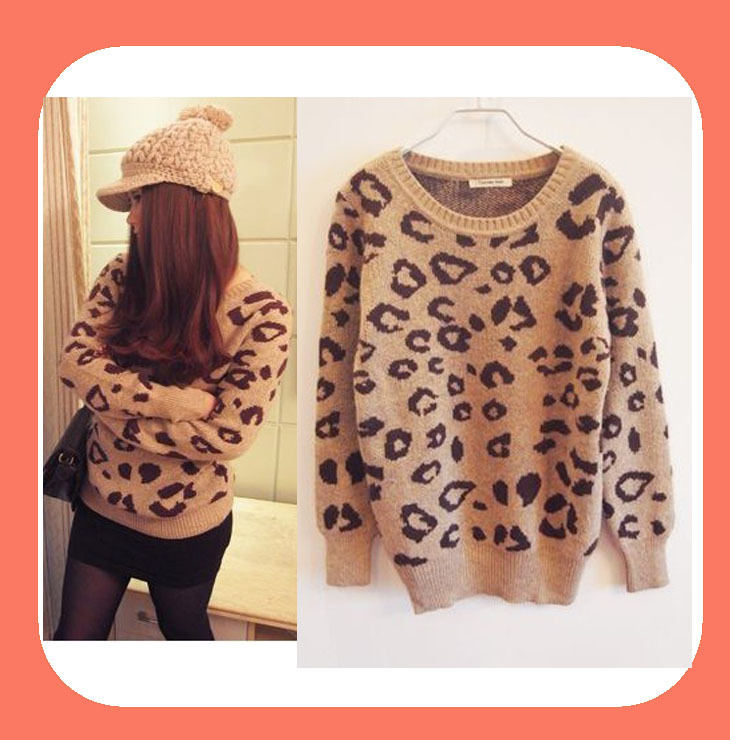 5975 Hot Leopard printing women sweaters long sleeve knitted pullovers fashion Free shipping-in Pullovers from Apparel & Accessories on Aliexpress.com