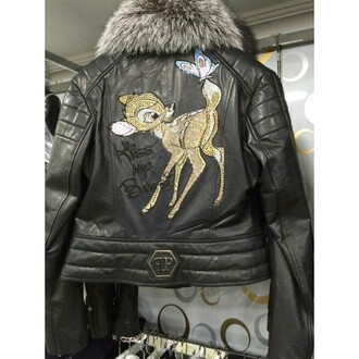 jacket leather jacket fashion fur luxury perfecto bambi disney embellished