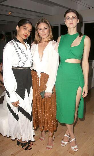 skirt frieda pinto olivia palermo blogger green dress midi skirt midi dress blouse alexandra daddario