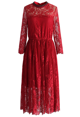 dress exotic red lace dress with jewel neckline chicwish lace dress red lace jewels