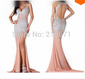 dress champagne pink dress luxury evening dresses sexy sweetheart dress one slit prom dress sweep train dresses