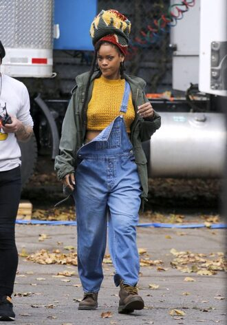 jeans overalls denim crop tops cropped top jacket rihanna