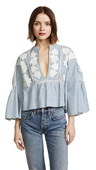 tunic embroidered blue top