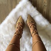 shoes,cici hot,heels,taupe,lace up,chic,girly,cute