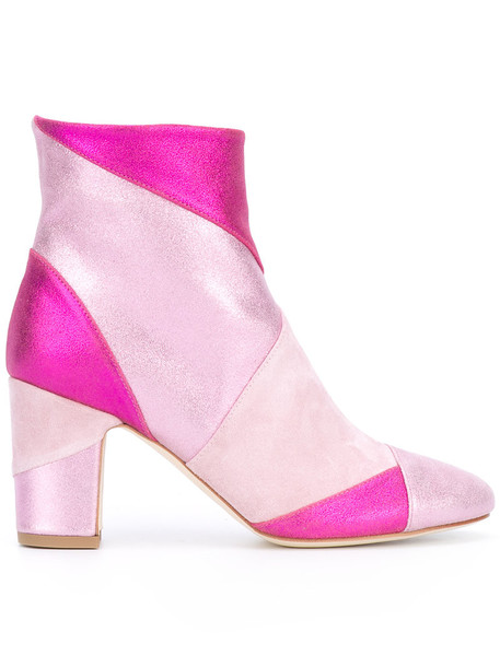women boots leather purple pink shoes