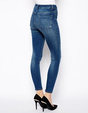 ASOS | ASOS Ridley High Waist Ultra Skinny Ankle Grazer Jeans in Midwash at ASOS