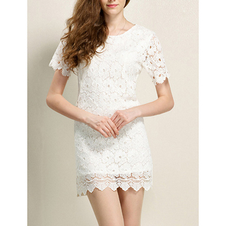 New Fashion Scoop Neck Short Sleeve Lace Lace Dress for Women_33.95