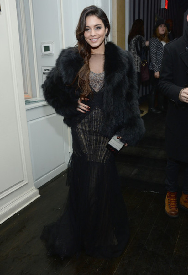 fur coat vanessa hudgens coat jacket black fur jacket