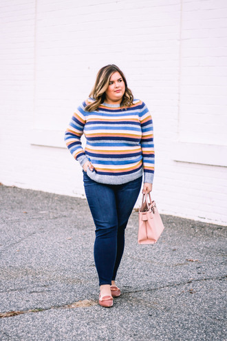 stylishsassy&classy blogger sweater jeans shoes bag curvy striped sweater handbag loafers skinny jeans