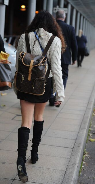 bag louis vuitton backpack backpack louis vuitton sweater white sweater skirt mini skirt black skirt boots black boots fall outfits tumblr