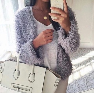 jacket coat winter jacket fur fur coat fur jacket fur cardigan cardigan winter coat grey white celine bag