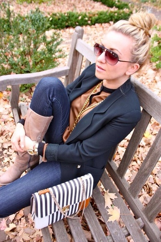 sunglasses fashion handbags striped purse gold ring black sunglasses aviator sunglasses bag shoes shirt jacket black blazer gold necklace riding boots taupe boots heel boots