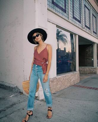 jeans top pink top hat tumblr camisole wrap top denim blue jeans ripped jeans sandals mid heel sandals sunglasses bag