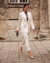 coat,blazer,white blazer,satin blazer,satin,satin trousers,drawstring bag,white,slim fit